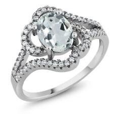 1.77 Ct Oval Sky Blue Aquamarine 925 Sterling Silver Ring