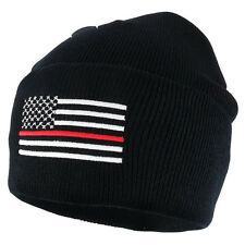 Fire Fighters THIN RED Line American Flag Embroidered Cuff Beanie Hat