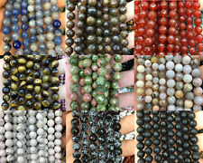 8mm Natural Gemstone Bead Stone Round Loose Faceted Bead For Jewelry Making 15''