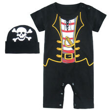 Baby Boys Pirate Costume Infant Halloween Party Playsuits Jumpsuits Short Sleeve