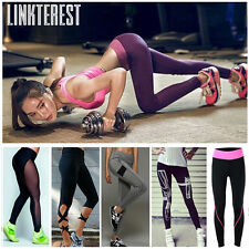 Womens Sports Trouser Yoga Mesh Workout Gym Leggings Fitness Athletic Pants S434