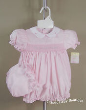 NWT Petit Ami Pink Smocked Bubble Romper 3 6 9 Months w/ Bonnet Baby Girls