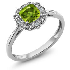18K White Gold Ring Cushion Green Peridot with Diamond Accent