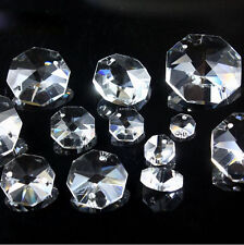 2 Hole 10-32mm Clear Octagon Crystal Beads Chandelier Parts Prism Wedding Decor