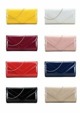 NEW LADIES PATENT LEATHER ENVELOPE CLUTCH BAG EVENING PARTY BRIDAL PROM PURSE