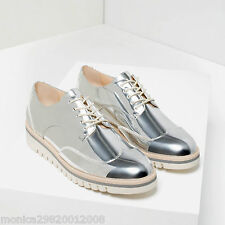 ZARA SILVER FLAT SHOES WITH BROGUE DETAIL SIZE UK8 EUR36 US4