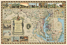 Pictorial Historical Literary Map Old Line State of Maryland Wall Art Poster