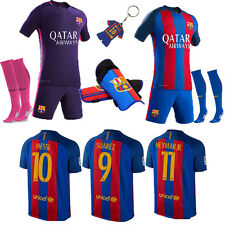 2017 Football Club Jersey Kit Short Sleeve Soccer 2-13 Yrs Kids Boys+Socks/Pad