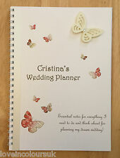 A5 Personalised Butterfly Brides Note Book, Bride to Be Wedding Planner, Journal