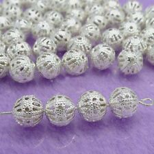Silver/Gold/Copper Plated Metal Hollow Flower Ball Spacer Beads 200Pcs Charms