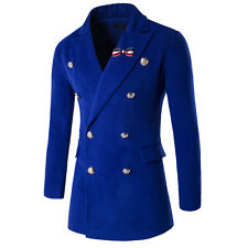 Mens Double Breasted Peacoat Jacket Winter Warm Wool Cotton Jacket Trench Coat