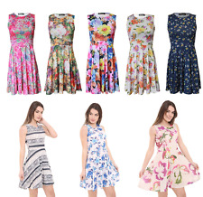 Womens Laides Sleeveless Flared Party Skater Swing Dress Plus Size 8-24 tops