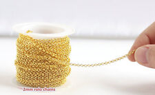 Jewelry Making Chain Cable Bulk Gold plated 2mm Round Rolo link 16FT 30 FT DIY
