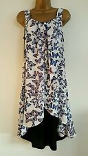 NEW Plus Size 16-28 Butterfly Print Blue White Chiffon Layered Tunic Dress Top