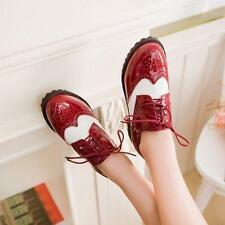 New Women's Patent Leather Brogue Lace Up Round Toe Oxford Mary Janes Shoes Plus