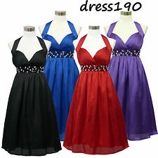 dress190 Chiffon Halter Glamour Cocktail Party Prom Evening Ball Gown Dress 8-24