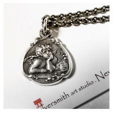 OAS Solid Sterling Silver Cherub Baby Guardian Angel Charm Pendant Necklace