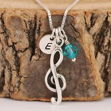 925 Sterling Silver Personalised Treble Clef Charms Necklace +Birthstone+Initial