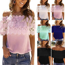 Womens Off The Shoulder Lace Tee Top Strapless T-Shirt Chiffon Loose Blouse Tops