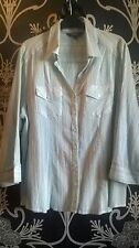 MAINE DEBENHAMS GREEN WHITE PURPLE CHEESECLOTH STYLE COTTON BLOUSE TOP SIZE 20