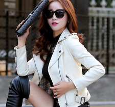Womens Faux Leather Lapel Collar Short Coat Slim Fit Jacket Motorcycle Overcoat