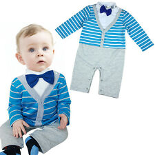 Kids Long Sleeve Bow Tie Gentle Romper Outfit Clothes Boy Suit Baby Clothing JK
