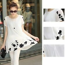 Blouse Printed Tunic Pullovers Loose Short Sleeve Floral Fashion Summer Chiffon