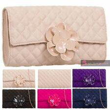 LADIES NEW QUILTED FAUX SUEDE PATENT FLOWER DETAIL CHAIN PARTY PROM CLUTCH BAG