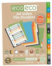 A4 INDEX FILE FOLDER PLASTIC DIVIDERS SUBJECT 12 PART DIVIDERS ecoeco RECYCLED