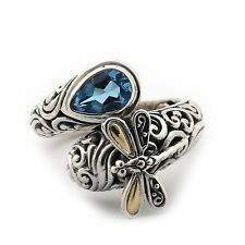 18k Yellow Gold and Sterling Silver Blue Topaz Filigree Bypass Dragonfly Ring