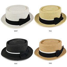 Boater Pork Pie Paper Straw Hat with Black Ribbon Band