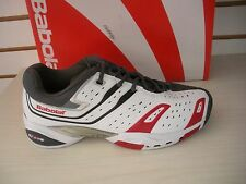 BABOLAT MENS TEAM ALL COURT 4 TENNIS SHOES -SNEAKERS- 30S900- WHITE/ GREY / RED