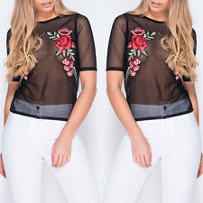 Summer Womens Floral Shirts Casual Short Sleeves Embroidery T-shirt Blouses Tops