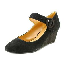 Nine West 7 Irina Women  Open Toe Suede Black Wedge Sandal NWOB
