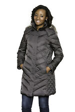 NWT KENNETH COLE WOMENS HOODED DOWN PUFFER COAT JACKET CARBON XS-XL