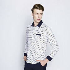 2017 New Fashion Mens Long Sleeve Dress Shirts Blue Dot Print Casual Blouse Tops