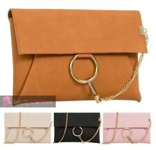 NEW LADIES FAUX LEATHER GOLD CHAIN RING DETAIL PARTY SHOULDER BAG HANDBAG