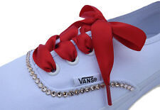 Red Coloured Ribbon Shoelaces Trainer Laces with LOGO Aglets for Canvas Trainers