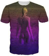 Summer Short sleeve Womens/Mens Psychedelic stripes 3D Print Casual T-Shirt T55