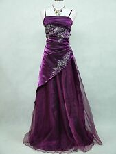 Cherlone Plus Size Satin Purple Prom Ball Gown Wedding/Evening Party Dress 18-22