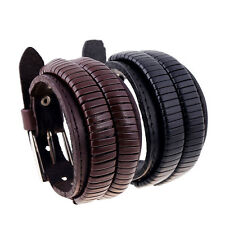 Vintage Brown Real Leather Bracelet Double Wide Adjustable Bangle Jewelry Unisex
