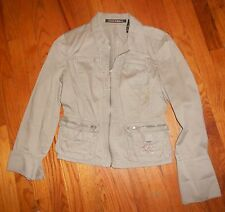 Womens DKNY Jeans Donna Karan Taupe Canvas Cute Jacket Ladies Medium