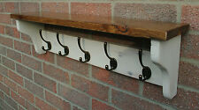 Shabby Chic Hat & Coat Rack with Cast Iron Hooks - Handmade To Order-Solid Wood