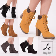 WOMENS LADIES WEDGE HEEL COMBAT ANKLE BOOTS LACE UP BLOCK HEEL SHOES SIZE UK 3-8