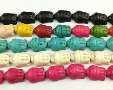 Howlite Turquoise Gemstone Buddha Head Spacer Beads For Jewelry Making 15x20mm