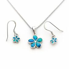 Sterling Silver Blue Inlay Simulated Opal Hawaiian Flower Necklace Earrings Set