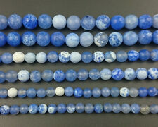 Natural Gemstone Blue Fire Agate Faceted Beads Round Spacer Beads 6mm 8mm 10mm