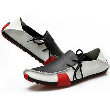 Men's Casual Fashion Boat Shoes Leather Flats Loafers Driving Moccasins Lace Up