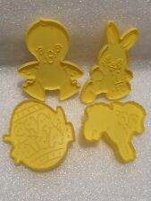 4 Vintage 1990 Wilton Easter Cookie Cutters Yellow Lamb Egg Chick Rabbit