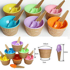 1Pcs Cup Ice Cream Eco-Friendly Kids Dessert Container Couples Bowl With Spoon